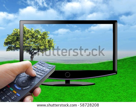 watch tv concept with hand