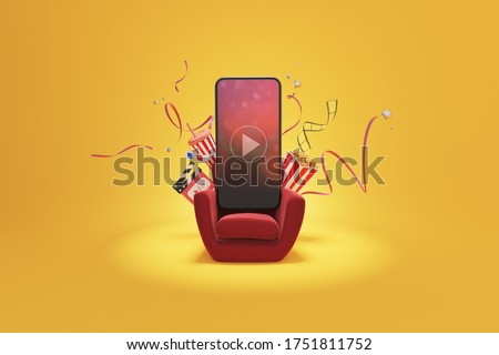 Watching movies cinema online entertainment media on smartphone with popcorn, film strip, clapperboard, and stereoscopic glasses on sofa. Multimedia app service. object clipping path. 3D Illustration. stock photo