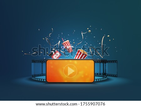 Watching movies cinema or music online entertainment media on smartphone with popcorn, film strip, clapperboard and stereoscopic glasses. Multimedia app service. object clipping path. 3D Illustration. stock photo