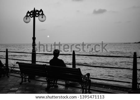 watching sunset alone at beach side(aloneness, thinking) #1395471113