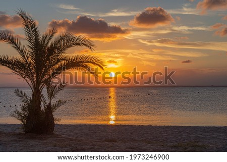 Watching the sunset from the beach in La Manga del Mar Menor, in the Autonomous Community of Murcia, Spain Foto stock ©