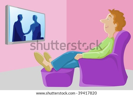 Watching TV - The Major Leisure Activity In The US An image of a man watching a TV program on a flat screen television mounted on the wall