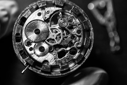 Watchmaker's workshop, watch repair, special tools for watch, background