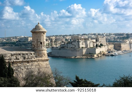 watchtower and fort St. Angelo in Grand Harbour of Valletta, Malta Stock fotó ©