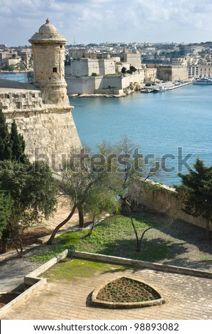 watchtower and fort St. Angelo in Grand Harbour of Valletta, Malta