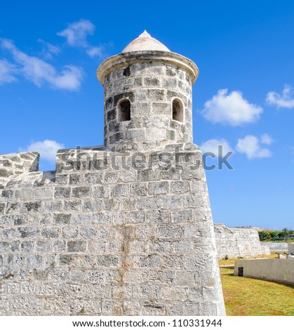 Watchtower of the spanish castle of San Salvador de la Punta in Habana