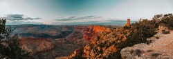 Watchtower Over the Grand Canyon at sunset, Grand Canyon National Park, Arizona