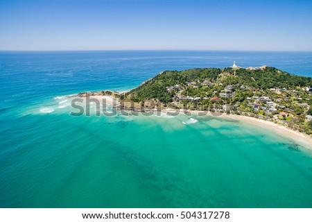 Wategoes Beach aerial view at Byron Bay with lighthouse #504317278