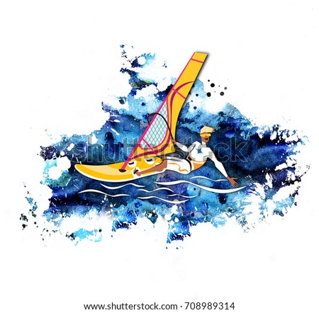 Water active recreation. Windsurfing character with surfboard and riding on watercolor background. Recreational beach water sport flat design character on surfing. Surf travel.