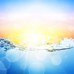 Water and air bubbles over beautifull sunset background