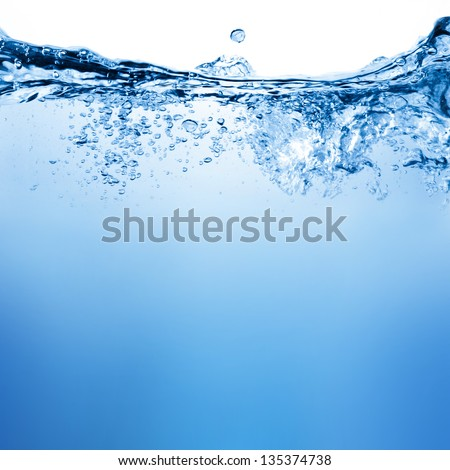 Shutterstock Water and air bubbles over white background