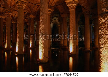 Water and columns in Yerebatan Saray, Istanbul