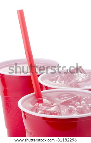 Water and ice in a red disposable cup. Add your text to the background.