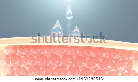 Water and vitamin drop on skin cell. serum through the skin layer and reduce up saggy skin of the skin cell. 3d rendering.
