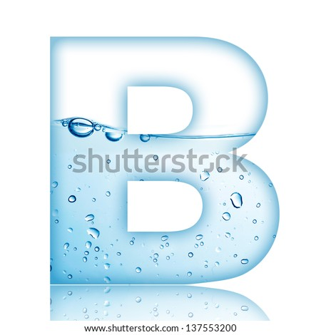 Water and water bubble alphabet letter Letter B
