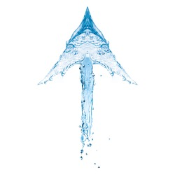 Water arrow showing up direction isolated on white background