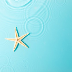 Water background. Blue water texture, surface of blue swimming pool and starfish. Spa concept background. Flat lay, top view, copy space