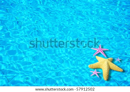 Water background with starfish conceptual image of vacation and summertime