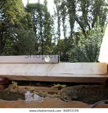 Water balance at installation of a roof window - square