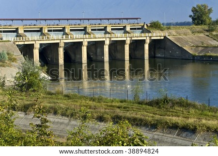 Water barrier dam at Kerkini lake in Greece