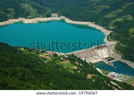 Water barrier dam, Perucac on river Drina, Serbia