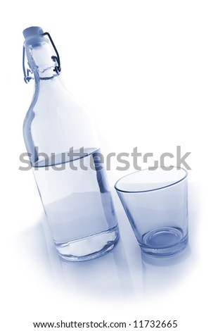water bottle and glass. Bluish image.