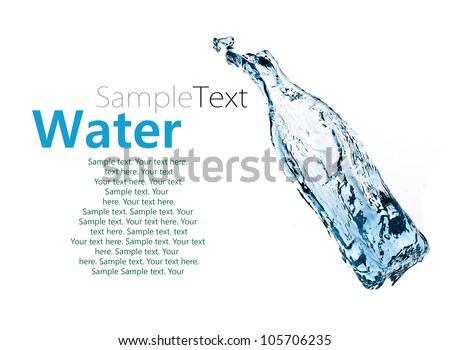 water bottle isolated on white background with sample text - stock photo