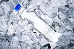 Water bottle on ice cube