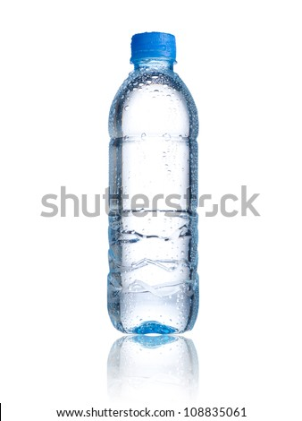 Water bottle with water drops on white background