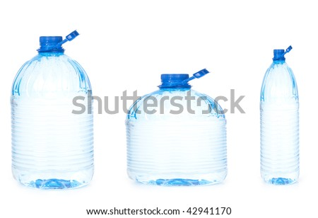 water bottles of different size
