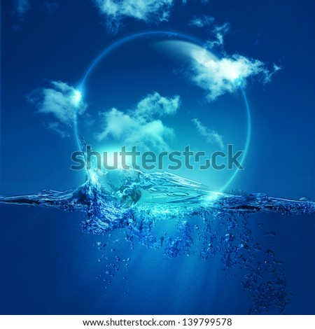Water bubble over ocean wave, environmental backgrounds