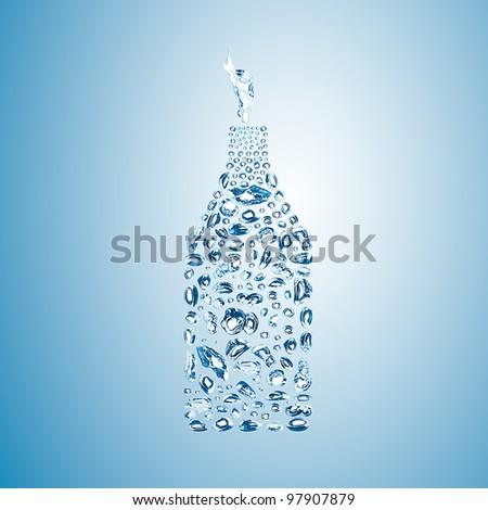 water bubbles in the shape of bottle