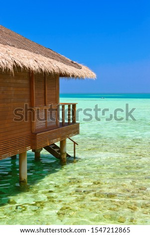 Water bungalows on tropical Maldives island - nature travel background #1547212865