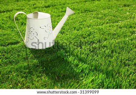 Water can on a fresh cut lawn