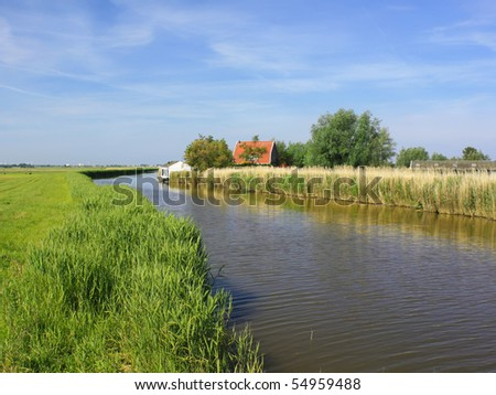 Water canal between fields in summer