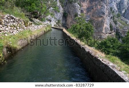 Water canal in Picos de Europa, Spain