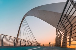 Water Canal Tolerance Bridge Travel and tourist attraction of Dubai, world Famous building architecture image