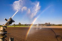 Water cannon irrigation, drought in Poland.