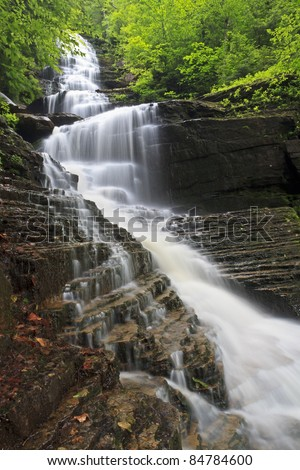 Water cascades over layers of rock and dead leaves at Lye Brook Falls near Manchester, Vermont, the tallest waterfall in Vermont.