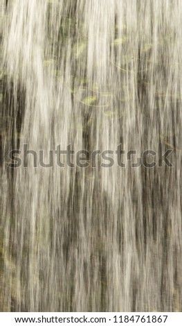 Water cascades rapidly over leaves in this tropical waterfall. #1184761867