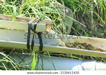 water channel in the side of the rice field ストックフォト ©