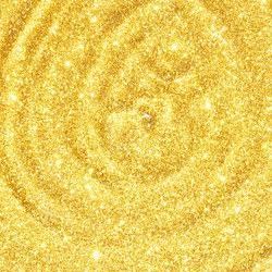 Water circle with gold sparkles background. Yellow glitter backdrop. Golden texture. New year luxury snow. Copyspace. Shimmer confetti wallpaper. Dreamy shiny design detail