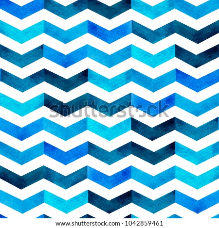 Water color hand painting blue and white,navy blue tone colorful  seamless background.Herringbone,zigzag pattern design can use for scarf,textile,illustration  artwork backdrop.