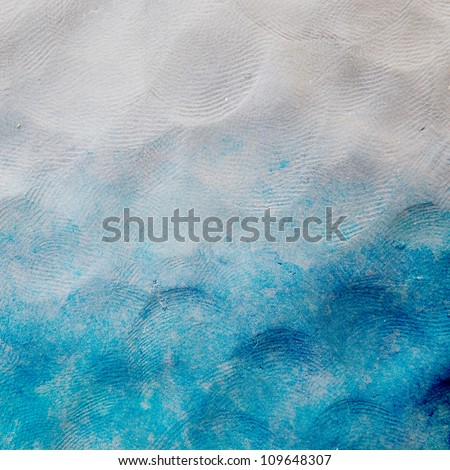 Water color like sea on plasticine texture background