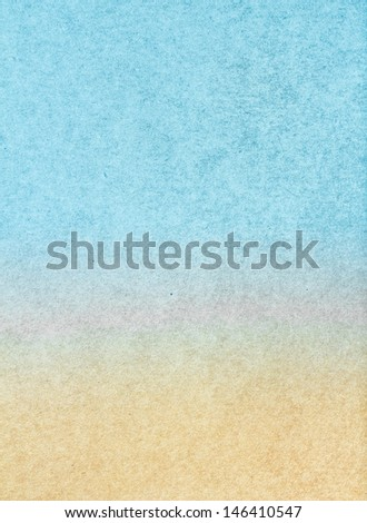 Water color on recycle sea beach blue and yellow vintage paper texture background.