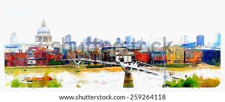water color painting london saint paul cathedral and millennium bridge