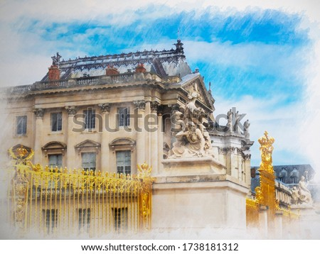 water color painting of Versailles palace entrance