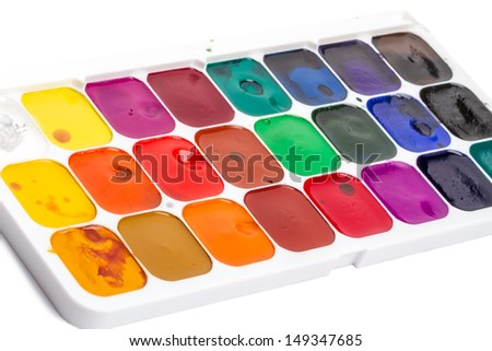 Water Colors pallet twenty-four colors. Isolated on white background