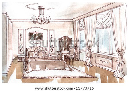 Water-Colour Sketch Of An Interior Of A Bedroom Stock P
