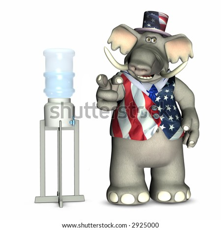 Water Cooler Politics - Republican, represented by an elephant. Political humor.